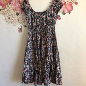 Aryeh floral print elastic shoulder dress size L
